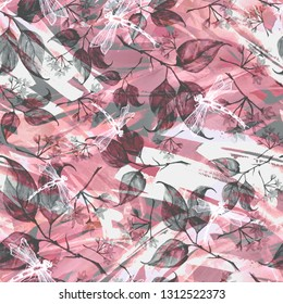 Seamless watercolor vintage pattern - branch of a linden, flower.splash of abstract paint, fashionable art background, shawl. Linden tree, linden flowers, leaves. Abstract splash watercolor paint