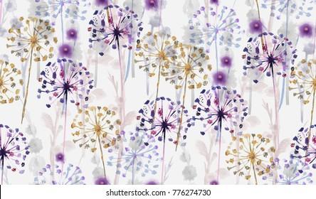 Sem costura Aquarela padrão floral selvagem no estilo de pintura à mão, papel de parede de flores delicada, rosa, tansy, pansies.Papel de parede no fundo branco