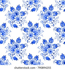 Seamless watercolour floral pattern, Delft blue style. Traditional Dutch motif with bouquets of flowers, cobalt on white background. Wallpaper. Textile print.