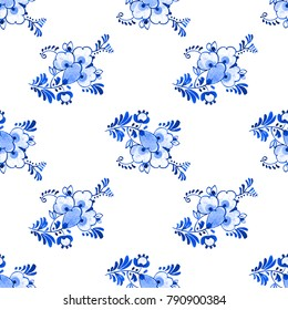 Seamless watercolour pattern Delft blue style . Traditional Dutch floral motif with flowers and buds, cobalt on white background. Wallpaper. Textile print.