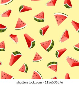Seamless watermelon pattern in a grainy style with multiple background colour options