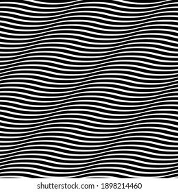 Seamless wavy pattern. Optical illusion of movement. Smooth lines background