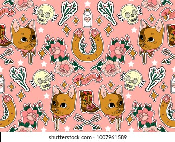 Seamless western pattern. Set of stickers, pins, patches and handwritten notes collection in cartoon. Cat, horseshoe, arrow, skull and other.