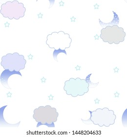 Seamless white background with clouds and rain, stars, moon. Abstract print for children's clothing, textiles, packaging