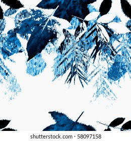 Seamless Winter Leaves Art Abstract Design