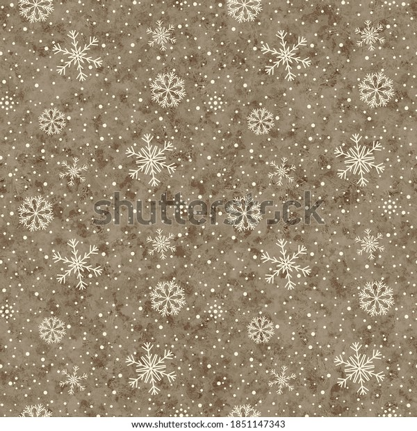 Seamless winter shabby and melange pattern with snowflakes, beige color.  Decorative festive background for printing on various products.