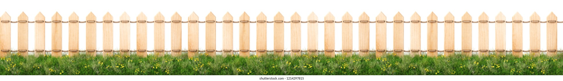 seamless wooden fence and grass. isolated on a white background. 3d rendering.