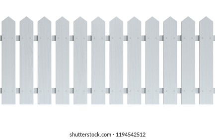 Seamless wooden fence painted white isolated on white background 3d rendering