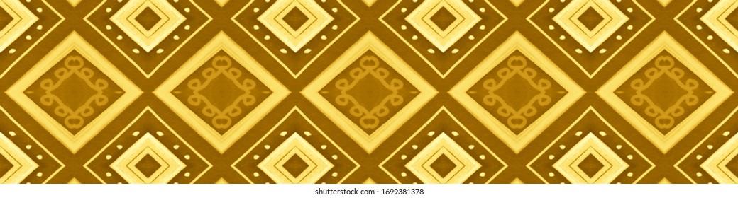 Seamless Yellow Aztec Print. Abstract Indian Wallpaper. Hand Drawn Tribal Motif. Zig Zag Textile Design. Aztec Pattern. Gold Navajo Wallpaper. Ikat Chevron Design. Gold Aztec Pattern.