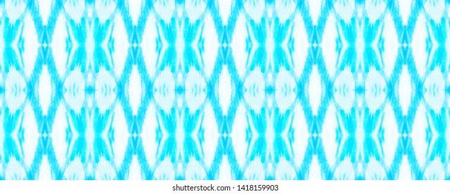Seamless Zigzag Ikat Print. Tie Dye Style. Blue Ogee Ornament. Watercolor Zigzag Ikat Pattern. Traditional Ethnic Zigzag Wallpaper. Handmade Aquarelle Shibori Fabric Print.
