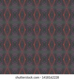 Seamless Zigzag Ikat Print. Tie Dye Style. Blue Geometric Texture. Handdrawn Aquarelle Fabric Print. Watercolor Zigzag Ikat Pattern. Traditional Ethnic Zigzag Background.
