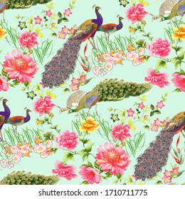 seamlessflower pattern with peacock background