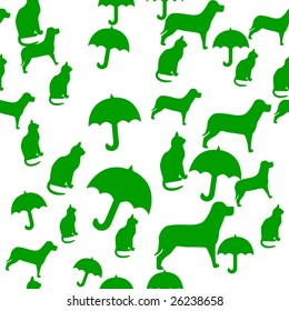 Seamlessly Repeatable Pattern of Raining Cats and Dogs