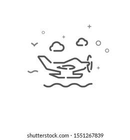 Seaplane simple line icon. Seaplane symbol, pictogram, sign. Light background.