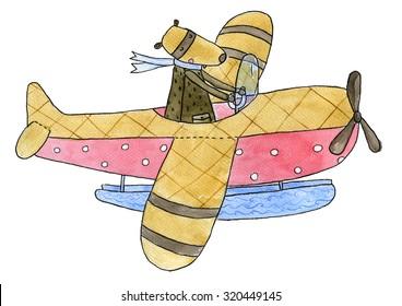 Seaplane Watercolor illustration