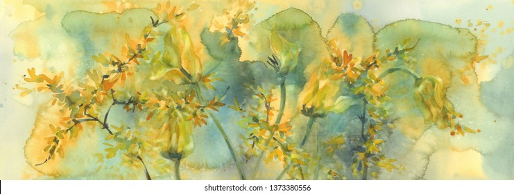 sear yellow tulips watercolor background, dying flowers illustration
