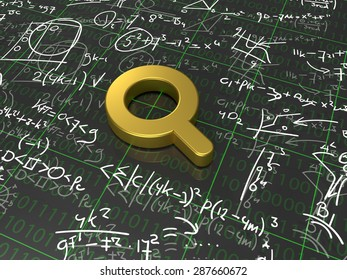 Search Algorithm - A golden magnifying glass surrounded with formulas. 3D Illustration
