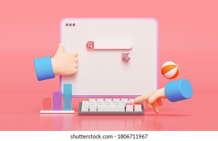 Search bar webpage on pink background. Hand typing for searching on web search concept. 3d rendering