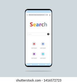 Search concept. Hand holding smartphone Simple flat style illustration. Online search with mobile phone.