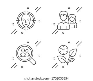 Search employees, Teamwork and Face detect line icons set. Leaves sign. Staff analysis, Man with woman, Select target. Grow plant. Business set. Line search employees outline icon.