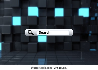 Search engine against blue and black tile design