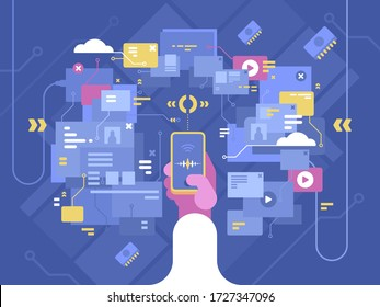 Search engine on Internet. Find information using smartphone. illustration