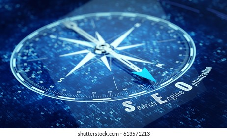Search engine optimization concept - Compass needle pointing SEO word. 3d rendering