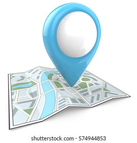 Search and find. Map with Blue GPS Pointer. 3D render and blank for Copy Space.
