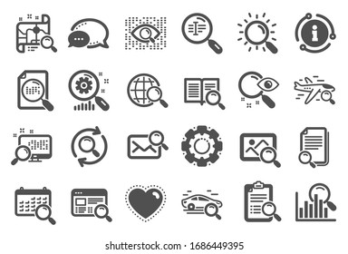 Search icons. Photo indexation, Artificial intelligence, Car rental icons. Airplane flights, Web search engine, Analytics. Find photo, checklist document, artificial intelligence eye.