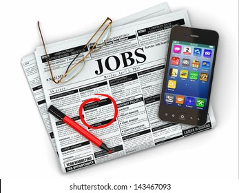 Search job. Newspaper with advertisments, glasses and mobile. 3d