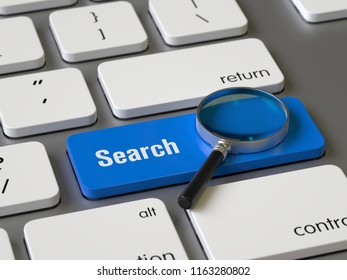 Search key on the keyboard, 3d rendering,conceptual image.