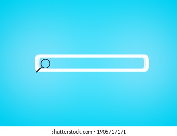 Search or magnifying glass in blank search bar. 3D image