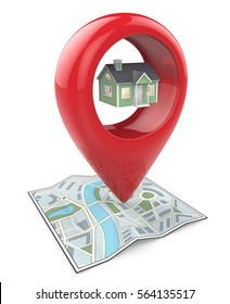 Search for Property. 3D render of a Map with Large Red GPS Pointer containing a Green House.