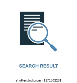Search Result icon. Simple element illustration in 2 colors design. Search Result icon sign from seo collection. Mobile and software design, apps and printing usage.