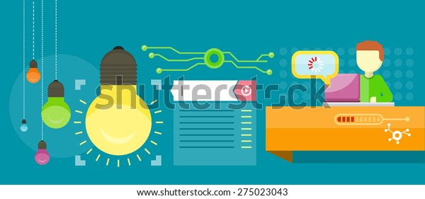 Search for solutions infographics. Man work with laptop and analyze website in flat design style. Raster version