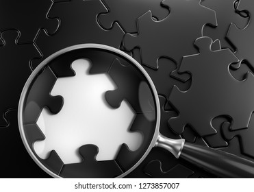 Search For Something - Graphic Template. Close-up composition of magnifying glass lying on jigsaw puzzle which is assembled from hexagonal pieces. 3d rendering graphics.