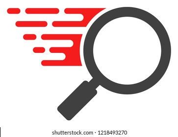 Search tool icon with fast rush effect in red and black colors. Raster illustration designed for modern abstraction with symbols of speed, rush, progress, energy.