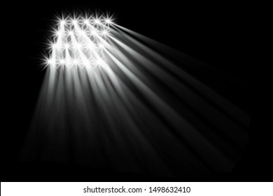 Searchlight illuminates. Floodlights illuminating the stadium. Sports event. Scene, stage light with colored spotlights. 3d illustration.