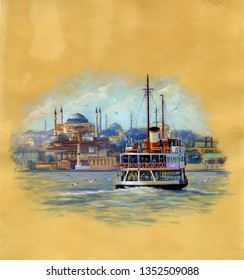 Seascape with Ayasofya and ferry in İstambul.Watercolor illustration on Vintage paper.