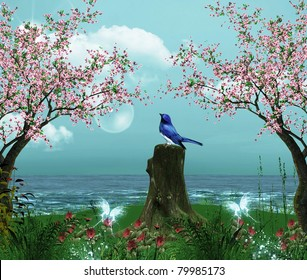 Seascape with cherry blossoms and bird