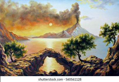 Seascape with the eruption of the volcano, oil on canvas