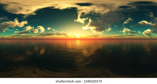 Seascape, HDRI, environment map , Round panorama, spherical panorama, equidistant projection, land under heaven, 3d rendering