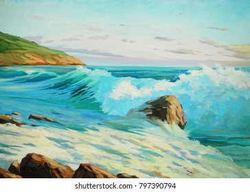 seascape of  mediterranean coast oil on canvas, illustration