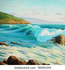 seascape oil painting on canvas, illustration