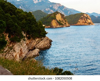 Seascape with a picturesque rocky coastline and cliffs lining. Abrupt coast with plants. Romantic evening. Montenegro, Petrovac. Digital stylization of a watercolor drawing