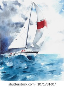 Seascape sail yacht boat waves storm weather watercolor painting illustration