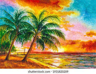 Seascape sunset. Ocean beach with palm trees. Colored sky with clouds. Spring break or Summer vacations in Florida. Watercolor painting. Acrylic drawing art.