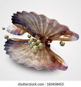 Seashell with pearls.