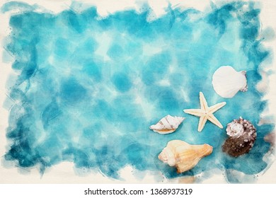 seashells in one corner on blue background in watercolors