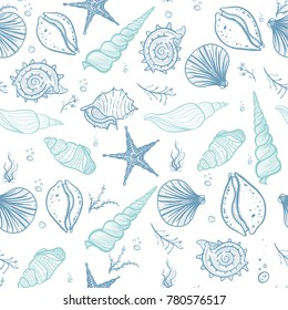 Seashells seamless pattern. Hand drawn doodle seashells, starfish, seaweed and corals. Creative seashells background.